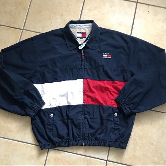 d12f46810536e7 90s Vintage Tommy Hilfiger Colorblock Flag Jacket.  M_5ad915ac077b97b0206a6be8